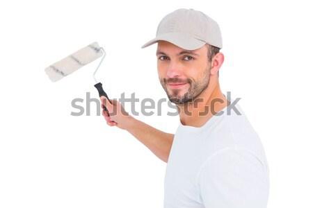 Handyman pintar homem feliz vermelho Foto stock © wavebreak_media