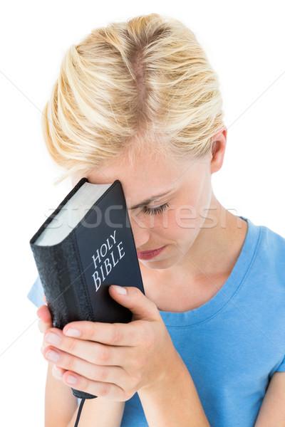 довольно Библии белый женщину Сток-фото © wavebreak_media