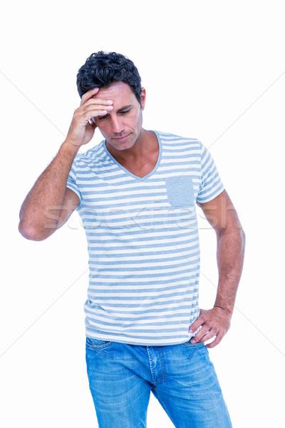 Triste homme une main tête blanche Photo stock © wavebreak_media