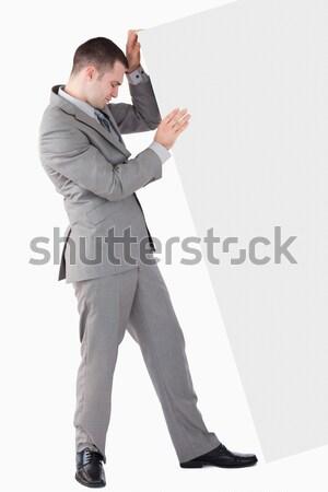Fiatal üzletember tart aktatáska szürke üzlet Stock fotó © wavebreak_media