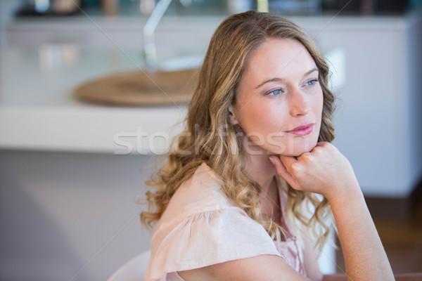 Sarışın kadın ev mutfak düşünme kadın Stok fotoğraf © wavebreak_media