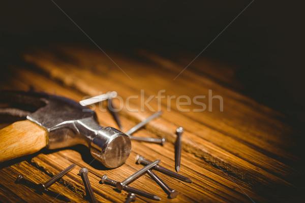 Hamer nagels uit tabel shot studio Stockfoto © wavebreak_media