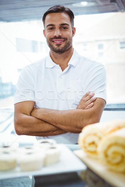 Gülen Sunucu önlük kol iş gıda Stok fotoğraf © wavebreak_media