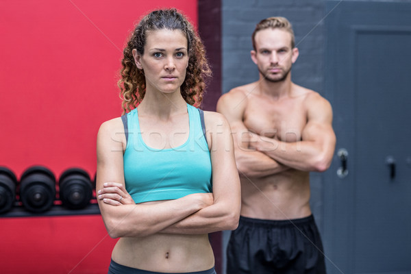 Ernst muskuläre Paar schauen Kamera Frau Stock foto © wavebreak_media