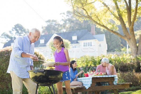 Nagyapa leányunoka barbecue család park nő Stock fotó © wavebreak_media