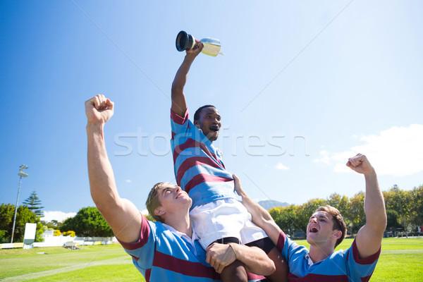 Mutlu rugby takım zafer ayakta Stok fotoğraf © wavebreak_media