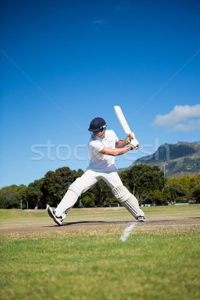 Full length of batsman playing at field against sky Stock photo © wavebreak_media