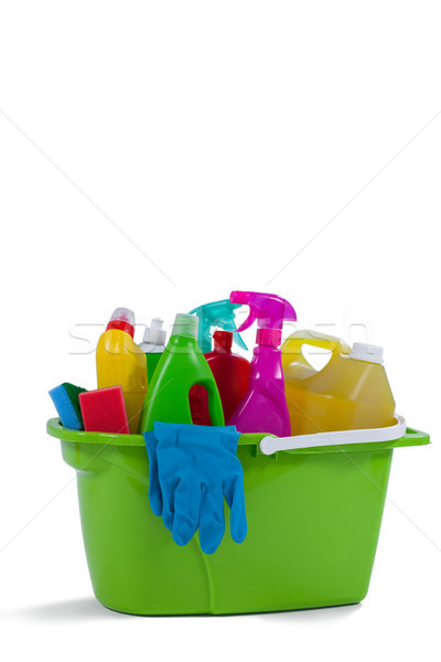 Various household cleaning supplies in a bucket Stock photo © wavebreak_media