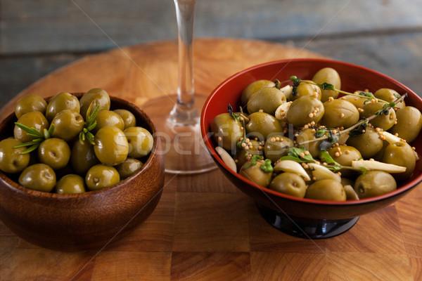 Close up of green olives served in container Stock photo © wavebreak_media