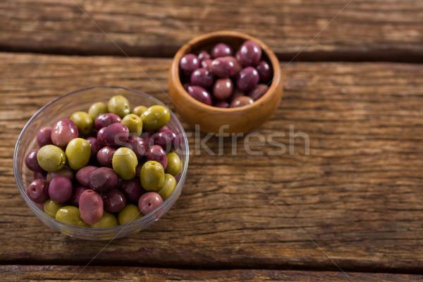 Marynowane oliwek kręgle drewniany stół żywności owoców Zdjęcia stock © wavebreak_media