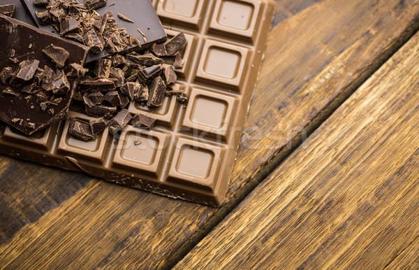 Escuro leite chocolate mesa de madeira ver Foto stock © wavebreak_media