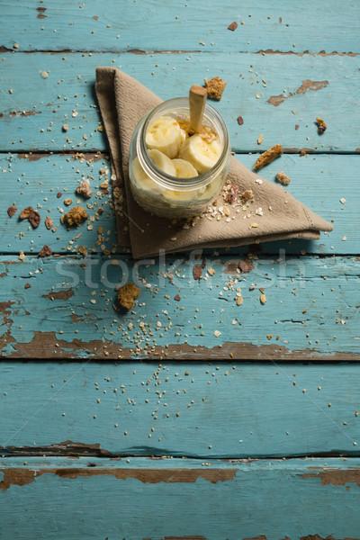 Vruchten granen jar servet doek houten tafel Stockfoto © wavebreak_media