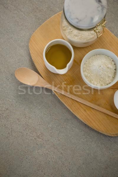 Ingrediënten tabel hout ei keuken Stockfoto © wavebreak_media
