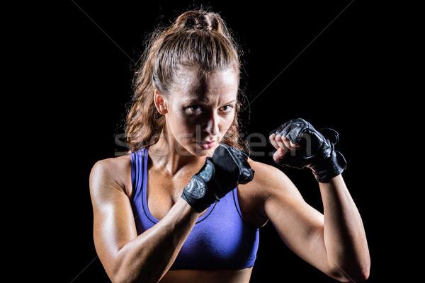 肖像 女性 ボクサー スタンス 黒 ストックフォト © wavebreak_media