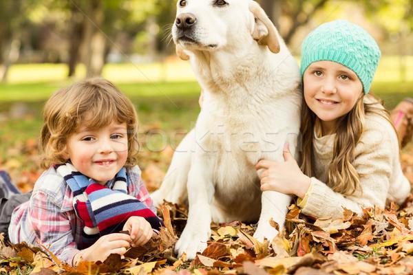 Zdjęcia stock: Młody · chłopak · dziewczyna · psa · pozostawia · rodziny · dziecko