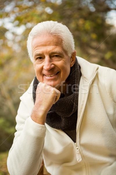 Mutlu kıdemli adam poz el çene Stok fotoğraf © wavebreak_media