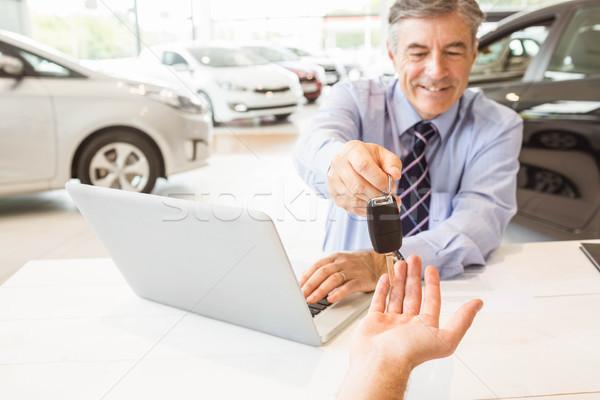 Photo stock: Souriant · vendeur · client · nouvelle · voiture