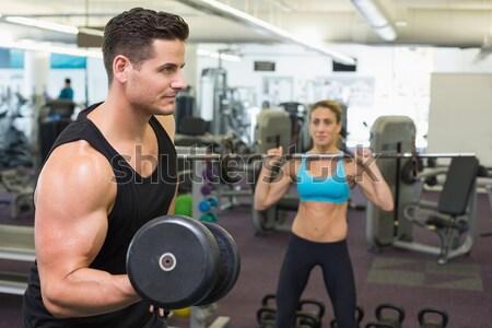 Male trainer assisting woman lifting dumbbells Stock photo © wavebreak_media