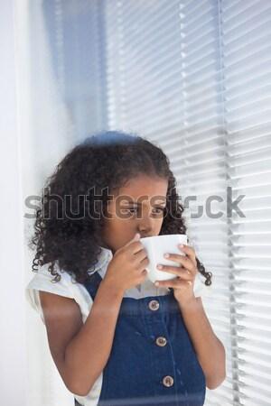 Kadın limon çay dizüstü bilgisayar kullanıyorsanız büro ev Stok fotoğraf © wavebreak_media