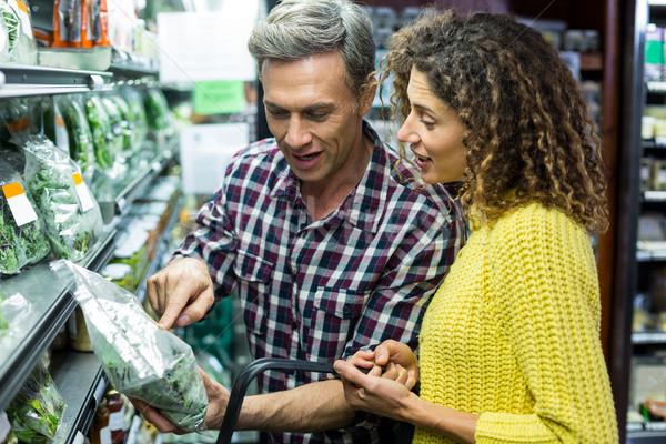 Boldog pár kiválaszt zöldségek organikus részleg Stock fotó © wavebreak_media