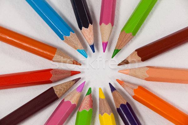 Close-up of colored pencils arranged in a circle Stock photo © wavebreak_media