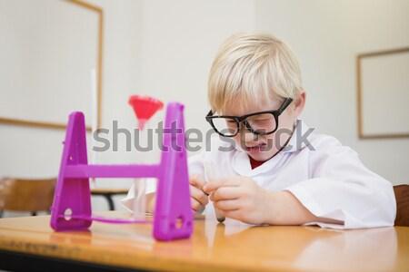 Diák felfelé kémia szett könyv fiú Stock fotó © wavebreak_media