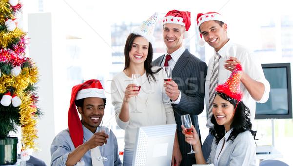 笑みを浮かべて ビジネスチーム 飲料 シャンパン を祝う クリスマス ストックフォト © wavebreak_media