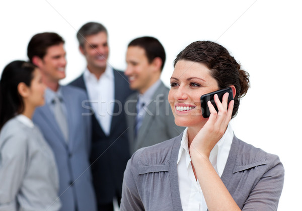 Kaukázusi nő beszél telefon csapat fehér Stock fotó © wavebreak_media