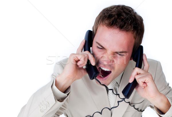 Csalódott üzletember felfelé telefon drótok izolált Stock fotó © wavebreak_media