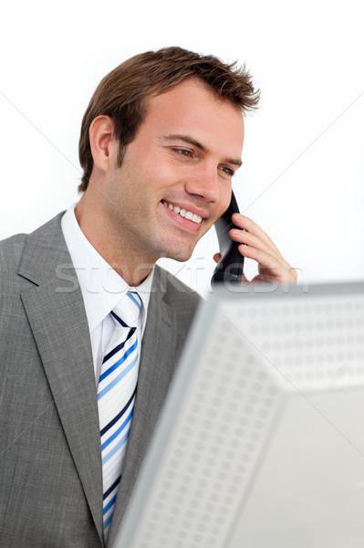 Charmant affaires téléphone ordinateur blanche heureux Photo stock © wavebreak_media