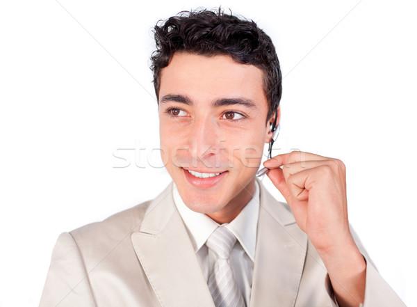 Bájos ügyfélszolgálat képviselő headset fehér üzlet Stock fotó © wavebreak_media