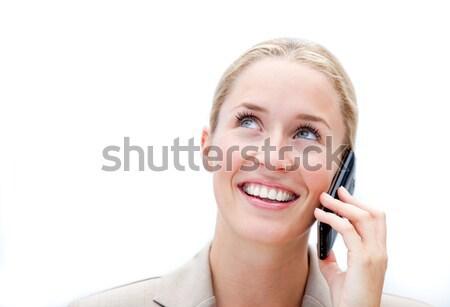 Portrait charmant femme d'affaires parler téléphone bureau Photo stock © wavebreak_media