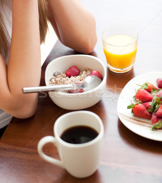 Foto stock: Saludable · desayuno · mesa · alimentos · casa · leche
