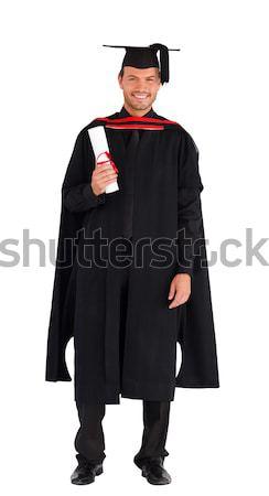 Boldog szőke nő lány ünnepel siker diploma Stock fotó © wavebreak_media