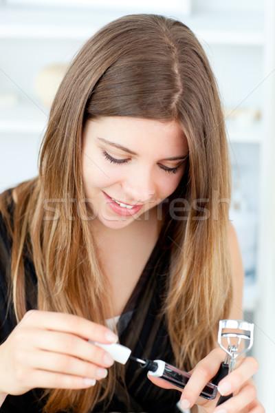 Charmant meisje lippenstift home glimlach gezicht Stockfoto © wavebreak_media