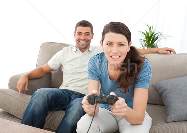 Zagęszczony kobieta gry gra wideo chłopak domu Zdjęcia stock © wavebreak_media