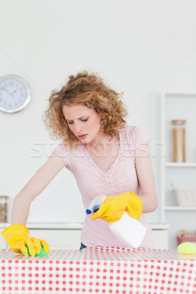 çekici kadın temizlik mutfak daire Stok fotoğraf © wavebreak_media