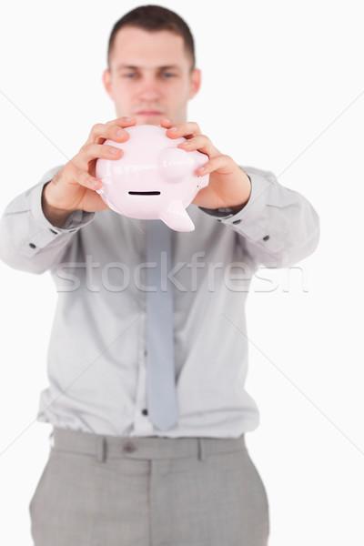 портрет бизнесмен Piggy Bank белый бизнеса работу Сток-фото © wavebreak_media