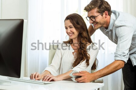 Young tradeswoman gets mentored by experienced colleague Stock photo © wavebreak_media