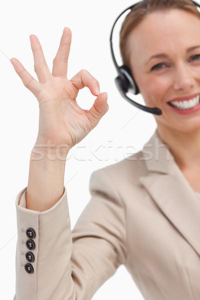 Kobieta interesu zestawu biały uśmiech telefonu portret Zdjęcia stock © wavebreak_media