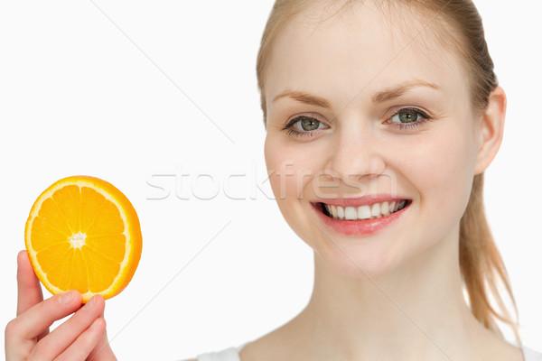Uśmiechnięta kobieta pomarańczowy plasterka biały strony kobiet Zdjęcia stock © wavebreak_media