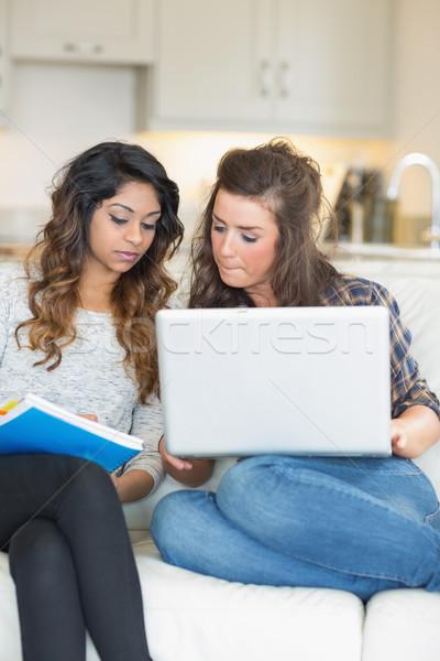Kızlar ödev dizüstü bilgisayar notepad kanepe oturma odası Stok fotoğraf © wavebreak_media