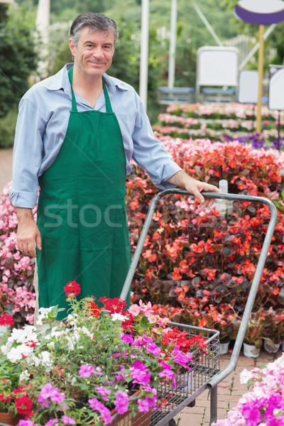 Alkalmazott toló kint kert központ munkás Stock fotó © wavebreak_media