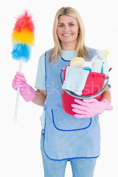 Donna delle pulizie piuma secchio bianco donna Foto d'archivio © wavebreak_media