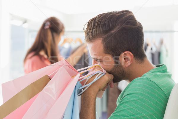 Nudzić człowiek kobieta posiedzenia Zdjęcia stock © wavebreak_media