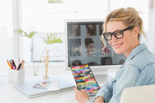 блондинка дизайнера цвета диаграммы столе Сток-фото © wavebreak_media