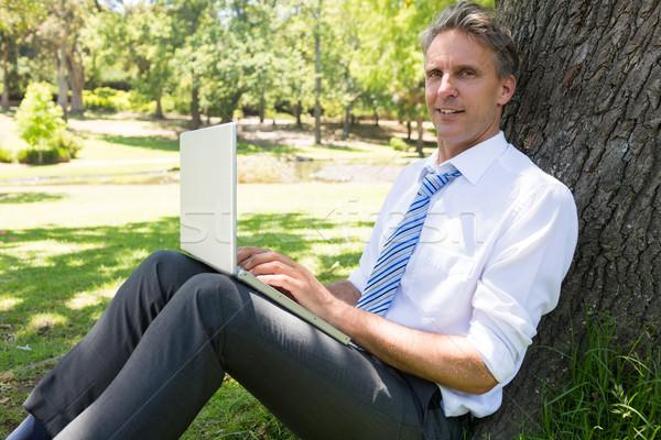 Businessman with laptop leaning on tree Stock photo © wavebreak_media