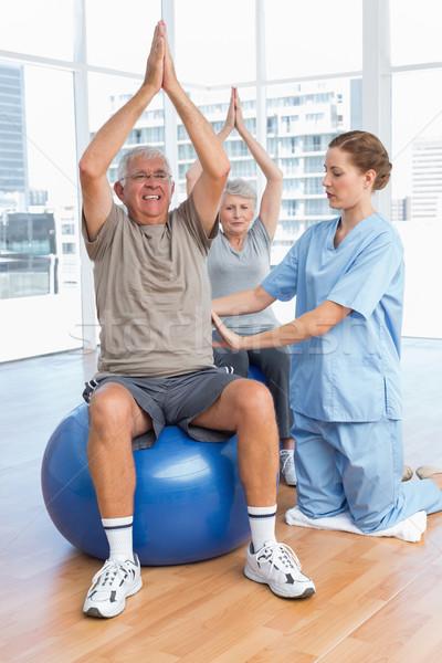 Női terapeuta idős pár orvosi iroda test Stock fotó © wavebreak_media