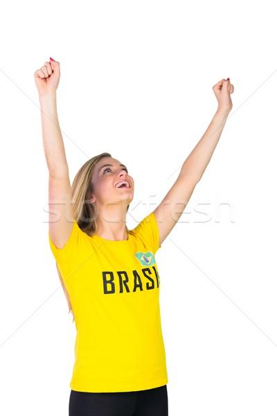 Podniecony piłka nożna fan tshirt biały Zdjęcia stock © wavebreak_media