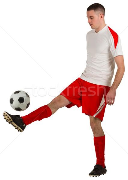 Foto stock: Encajar · futbolista · jugando · pelota · blanco · fútbol